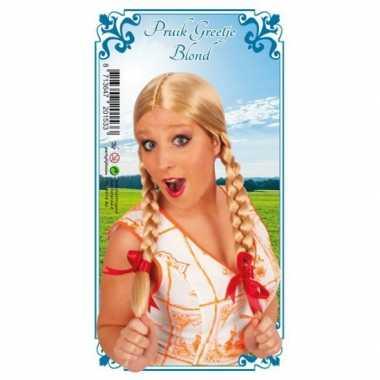 Dames pruik blond vlechtjes carnaval