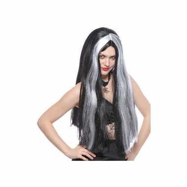 Dames pruik heks grijs/zwart carnaval