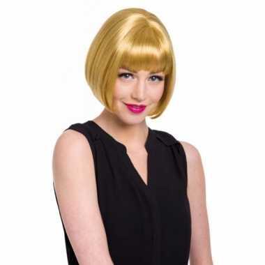 Dames pruik natuurlijk blond carnaval