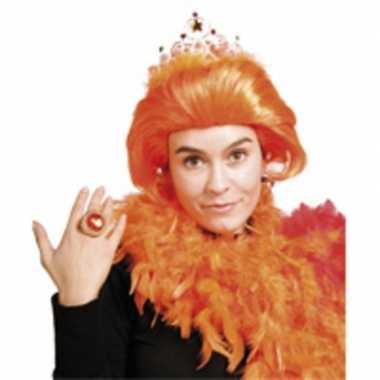 Dames pruik oranje beatrix kroontje carnaval