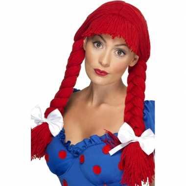 Dames pruik staarten rood carnaval