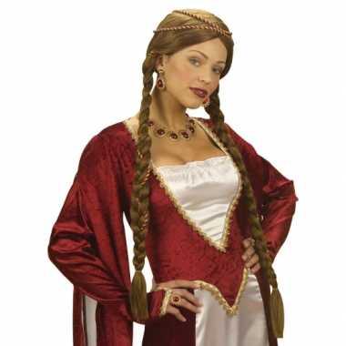 Dames pruik uit middeleeuwen carnaval