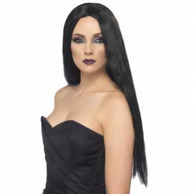 Dames verkleed pruik zwart lang haar carnaval