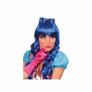 Damespruik blauw haarstrik carnaval