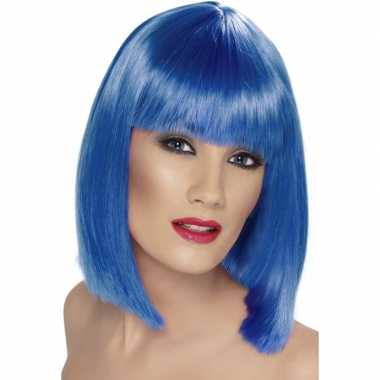 Damespruik blauw pony carnaval