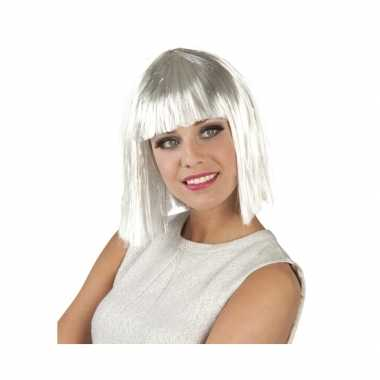 Damespruik halflang bob haar wit zilver carnaval