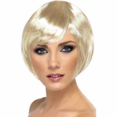 Damespruik kort blond haar carnaval