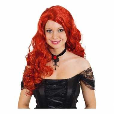 Damespruik rood krullend haar carnaval