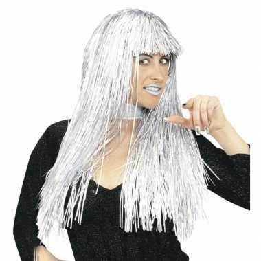 Disco pruiken zilver folie carnaval