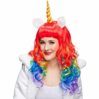 Eenhoorn regenboog pruik krullen carnaval 10079519