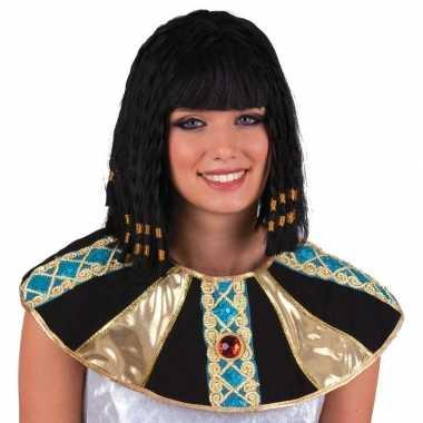 Egyptische damespruik Cleopatra zwart carnaval
