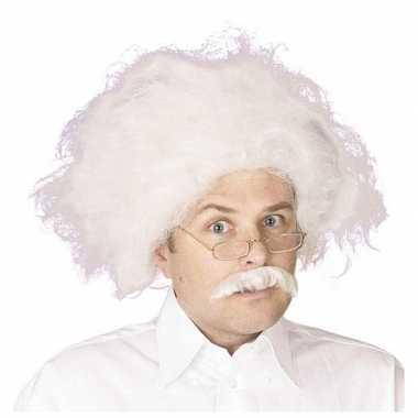 Einstein pruik snor wit haar carnaval