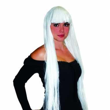 Elfen pruik damespruik lang wit haar pony carnaval