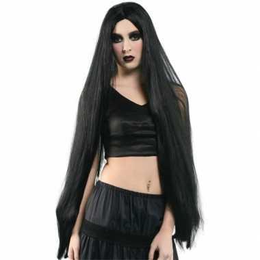 Extra lange dames heksen pruik zwart carnaval