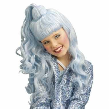 Feest party lichtblauwe verkleed pruik krullen een hoge staart meisjes kinderen carnaval
