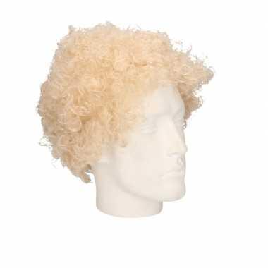 Feest s blonde krullen/afro pruik volwassenen carnaval