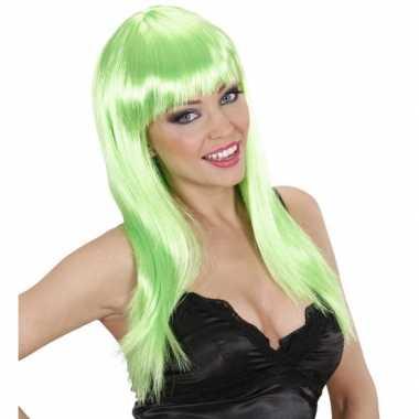Feestpruik dames groen stijl haar carnaval