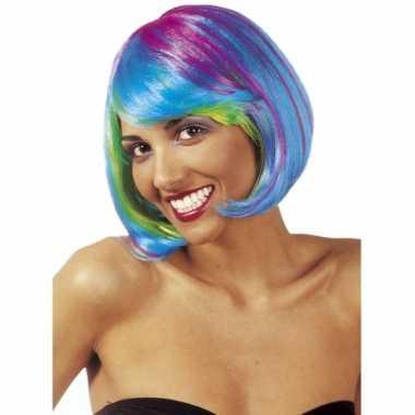 Fel gekleurde dames boblijn pruiken carnaval