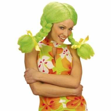 Fel gekleurde groene Dolly pruik carnaval