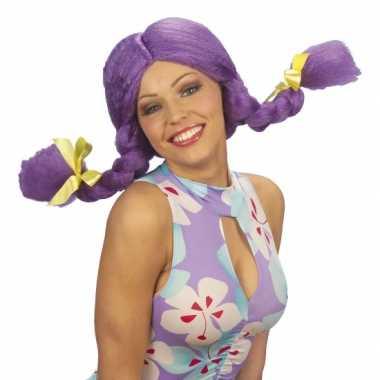 Fel gekleurde paarse dolly pruik carnaval