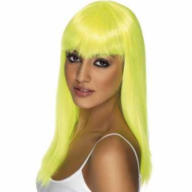 Fluoriserende gele damespruik carnaval
