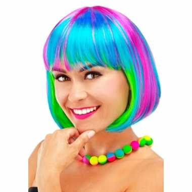 Gekleurde boblijn dames pruik carnaval