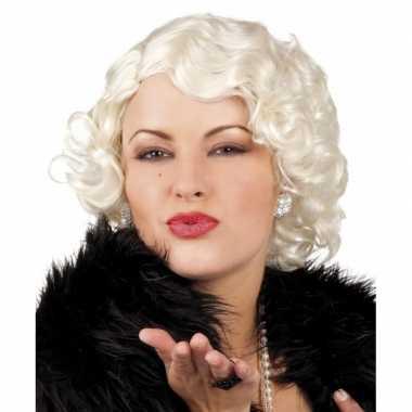 Gekrulde damespruik blond carnaval