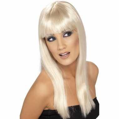 Glamour damespruik blond dames carnaval