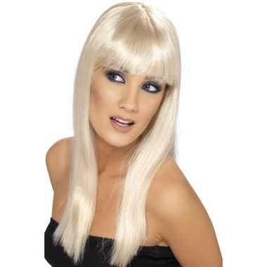 Glamour pruik blond dames carnaval