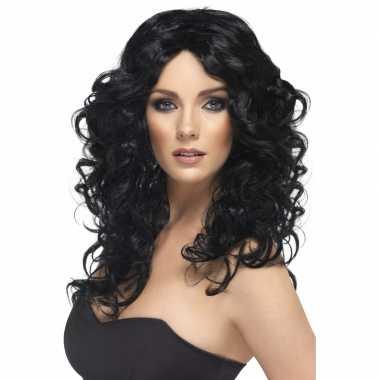 Glamoureuze dames pruik zwart carnaval