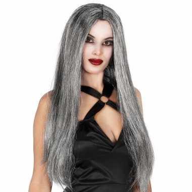 Gothic halloween heksenpruik lang grijs haar carnaval