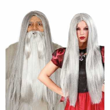 Grijze heksenpruik zilveren gloed carnaval