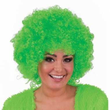 Groene hippie pruik afro carnaval
