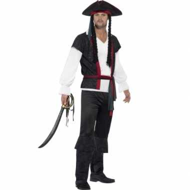 Heren piraat kapitein kostuum pruik carnaval