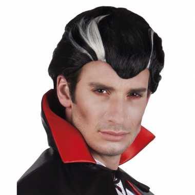 Herenpruik vampier zwart/wit carnaval