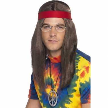 Hippie setje pruik carnaval