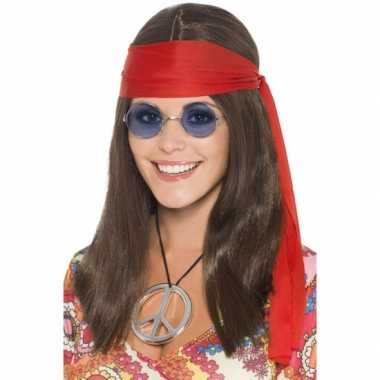 Hippie setje pruik dames carnaval