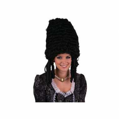 Hofdame pruik zwart carnaval