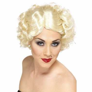 Hoog blonde maffia pruik kort golvend carnaval