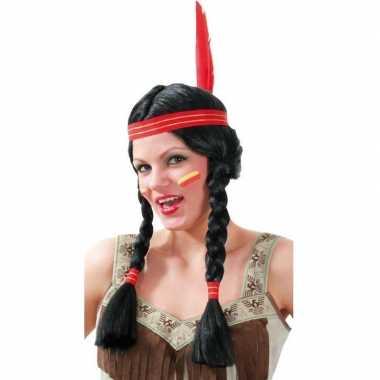 Indiaan dames pruik tooi carnaval