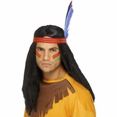 Indianen pruik hoofdband+veren carnaval