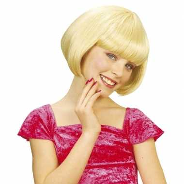 Kinderpruik blonde korte bob lijn carnaval