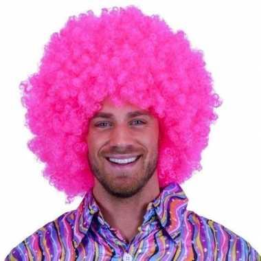 Knal roze clowns pruiken carnaval