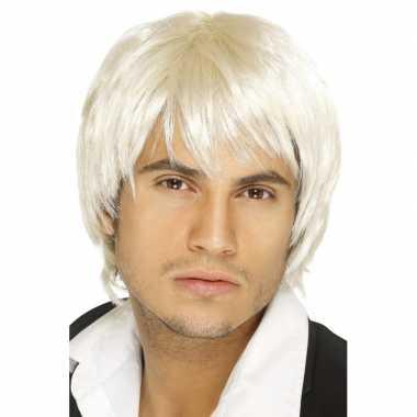 Korte blonde heren pruik carnaval
