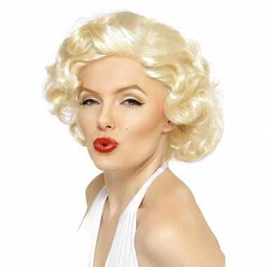 Korte blonde pruik krullen carnaval