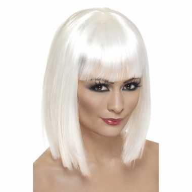 Korte blonde pruik ponny carnaval