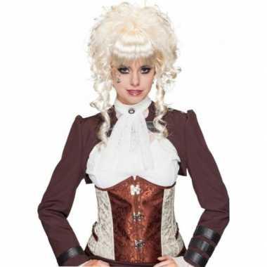 Krullende blonde opgestoken pruik carnaval