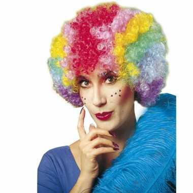Krulletjes pruik meerdere kleuren carnaval