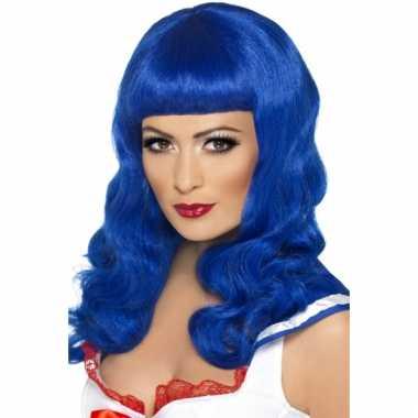 Lang haar pruik blauw rechte pony carnaval