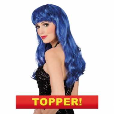 Lange blauwe dames pruik carnaval